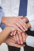 Close up on work teams hands all together — Stock Photo