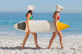 Two attractive women in bikinis holding a surfboard — Stock Photo