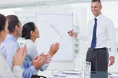 Business people applausing their cheerful colleague for his pres — Stock Photo