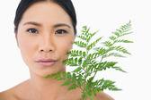 Seria sensual modelo pelo oscuro con fern acariciando su rostro — Foto de Stock