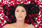 Thoughtful attractive dark haired model lying in rose petals — Stock Photo