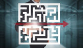 Businessman touching futuristic qr code with arrow interface — 图库照片