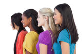 Diverse young women looking in the same direction — Stock Photo