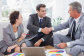 Cheerful business people agreeing on contract — Stok fotoğraf
