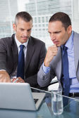 Concentrated businessmen analyzing documents on their laptop — Stock Photo