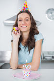Cheerful pretty brunette on her 30th birthday — Stock Photo