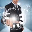 Businessman using circle interface — Stockfoto
