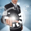 Businessman using circle interface — Stock Photo