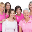 Smiling women posing and wearing pink for breast cancer — Stock Photo