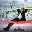 Foto Stock: Businessmsitting in front of detailed success brainstorm