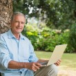 Old man leaning against tree with a laptop — Stock Photo #29451597