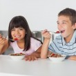 Happy siblings eating cereal for breakfast in kitchen — Stock Photo #29451989