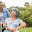 Smiling mature woman in wheelchair talking with daughter — Stock Photo #29452173