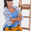 Young womready for home improvement — Stock Photo #29452469