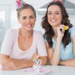 Stock Photo: Beautiful women celebrating birthday