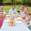 Cheerful extended family having dinner outdoors at picnic table — Stock Photo