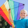 Boy having fun with a kite — Stock Photo
