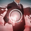 Businessman selecting futuristic circle interface — Stock Photo