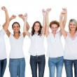 Smiling casual models posing with hands up — Stock Photo