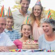 Cheerful extended family celebrating a birthday — Stock Photo