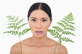 Surprised sensual dark haired model with fern looking up — Stock Photo