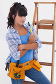 Woman ready for home improvement — Stock Photo