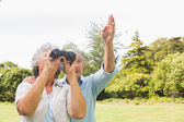Man pointing to something for his wife holding binoculars — Stock Photo