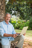 Old man leaning against tree with a laptop — Stock Photo