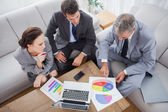 Business people analyzing diagrams together — Stok fotoğraf