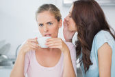 Brunette telling secret to her friend while drinking coffee — Stock Photo