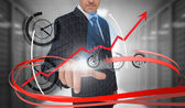 касаясь часы на футуристический интерфейс с закрученной бизнесмен — Стоковое фото