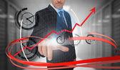 Uomo d'affari, toccare l'orologio sull'interfaccia futuristica con vorticoso — Foto Stock