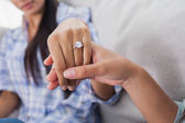 Engagement ring on womans hand — Stock Photo