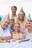 Happy extended family at birthday party — Stock Photo
