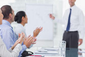 Business people applausing after presentation — Stock Photo