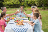 Multi generation family toasting each other at dinner outside — Stock Photo