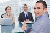 Applicant giving thumb up after obtaining the job — Stock Photo