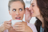Smiling woman telling secret to her friend — Stock Photo