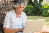 Grey haired woman with a laptop — Stock Photo