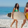 Stock Photo: Two gorgeous women in bikinis holding a surfboard
