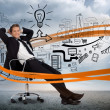 Businessman sitting in front of detailed brainstorm — Foto Stock