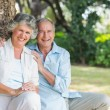 Smiling mature couple sitting together — Stock Photo