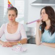 Woman cheering up her upset friend on her 30th birthday — Stock Photo