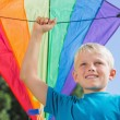 Child raising his arm with a kite in it — Stock Photo #29463125