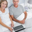 Couple using their laptop together in bed — Stock Photo #29463787
