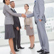 Stock Photo: Work team shaking hand with their new partner
