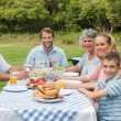 Multi generation family having dinner outside at picnic table — Stock Photo