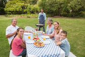 Smiling extended family having a barbecue — Stock Photo