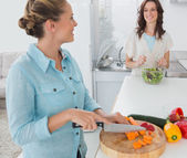 Smiling woman cutting carrots with her friend tossing salad — Stock Photo