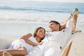 Peaceful couple relaxing on hammock — Stock Photo
